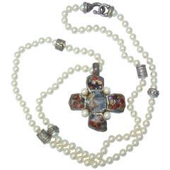 1980's Gerard Yosca Brutalist Silver Cross & Faux Pearl Necklace