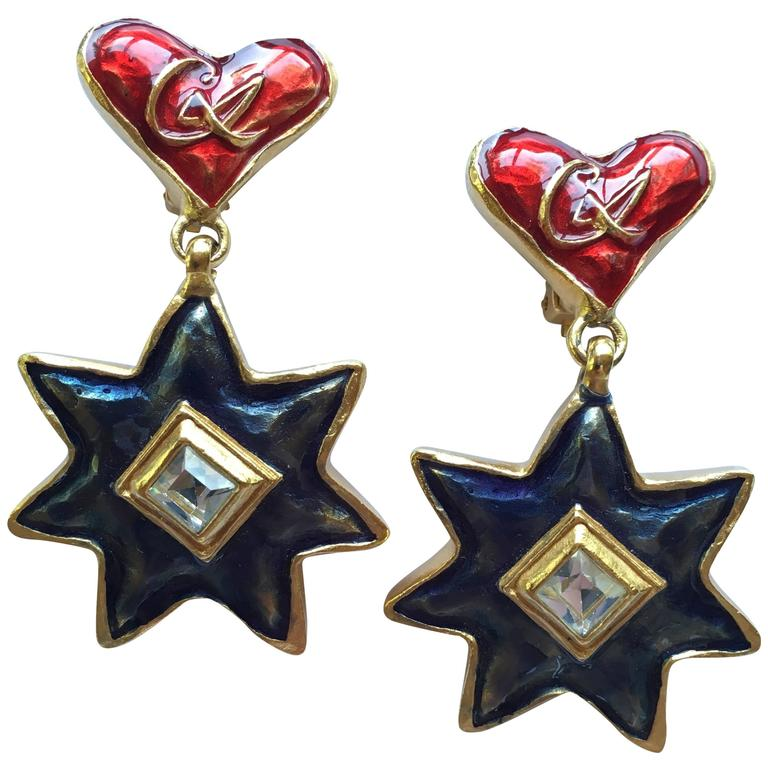 1990s Christian LaCroix Heart and Star Dangle Earrings For Sale