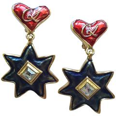 1990s Christian LaCroix Heart and Star Dangle Earrings