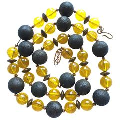 1970s Yves Saint Laurent Long Yellow and Copper Beaded Necklace