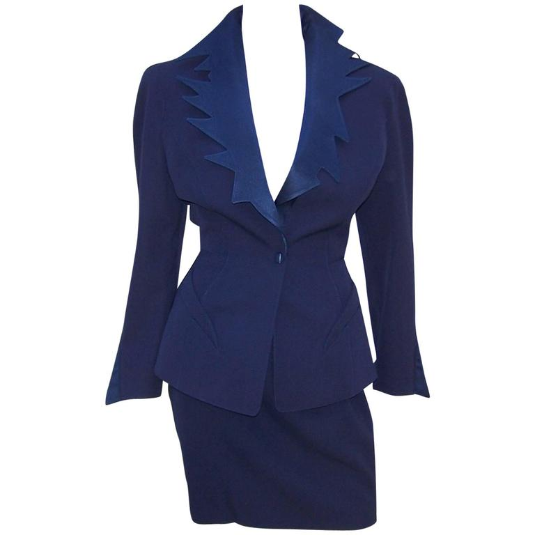 C.1990 Thierry Mugler Midnight Blue Tuxedo Style Suit With 'Shazam' Collar For Sale