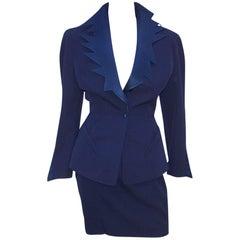 C.1990 Thierry Mugler Midnight Blue Tuxedo Style Suit With 'Shazam' Collar