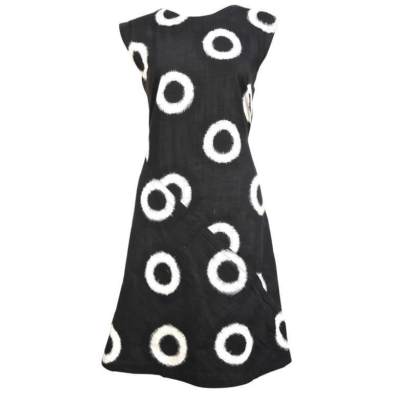 1986 ISSEY MIYAKE black circular Ikat woven cotton day dress 1