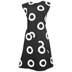 1986 ISSEY MIYAKE black circular Ikat woven cotton day dress