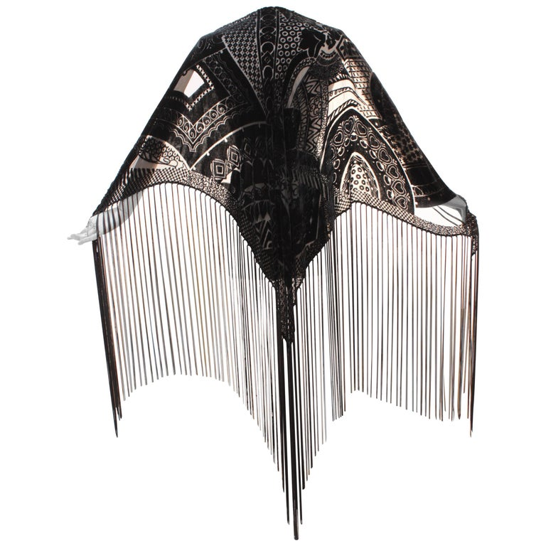 Giorgio Armani Large Black Shawl with Fringe Abstract Velvet Burnout 1990s