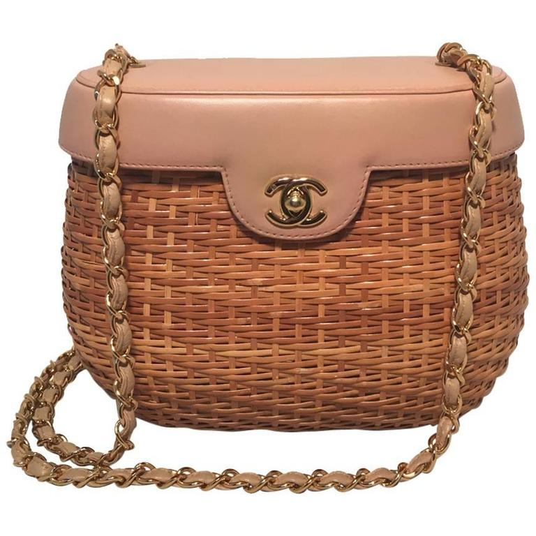 Chanel Tan Rattan And Leather Basket Shoulder Bag For