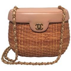 Chanel Tan Rattan and Leather Basket Shoulder Bag