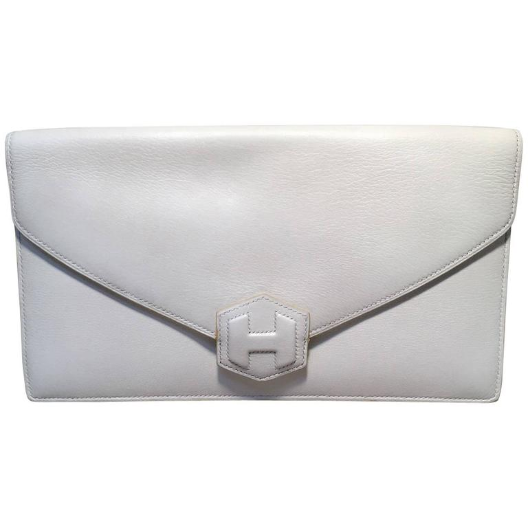 RARE Hermes Vintage White Leather Clutch  For Sale