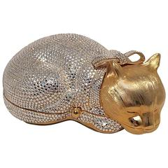 Judith Leiber Gold and Clear Swarovski Crystal Cat Minaudiere