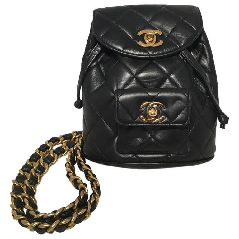 Rare Chanel Vintage Black Quilted Leather Mini Backpack