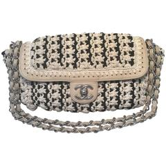 Limited Edition Chanel Black and White Woven Rope Classic Flap Shoulder Bag
