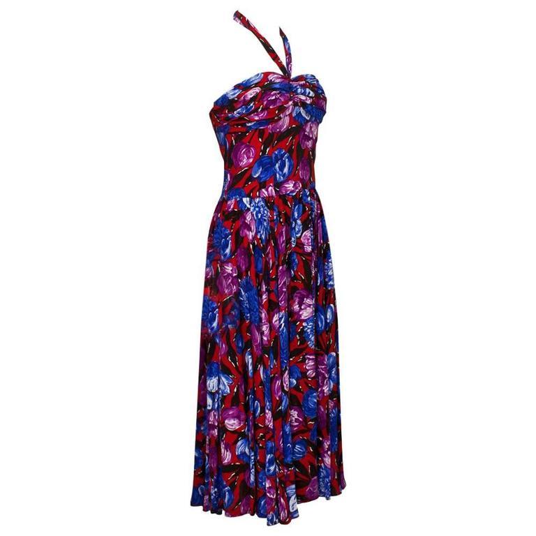 1980s Floral Summer Cocktail Dress