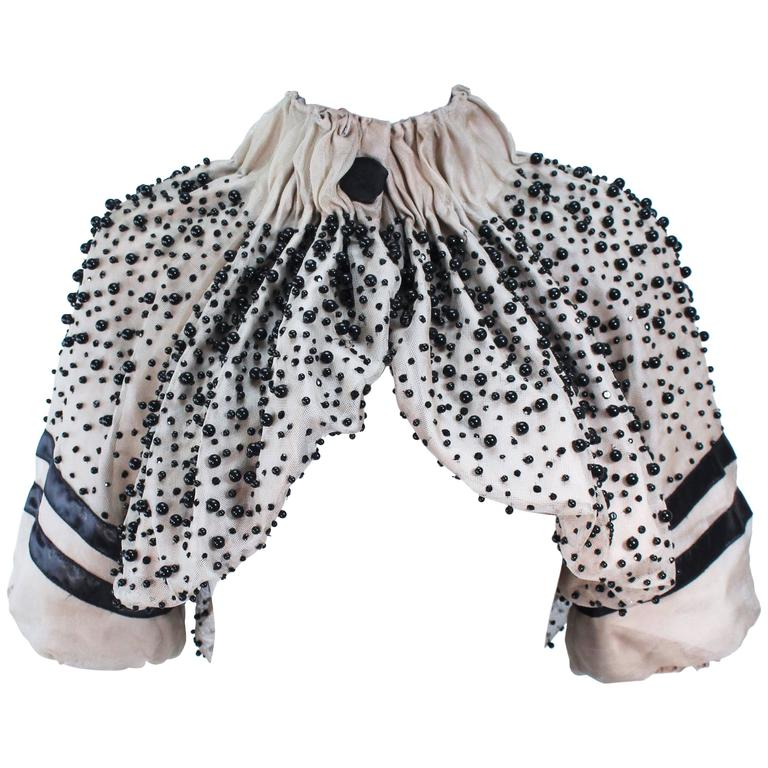 MONCLER Nude Mesh Gathered Bolero with Beaded Applique Size S  For Sale