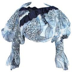 COMME DES GARCONS Floral and Batik Print Blouse with Open Back Size SS