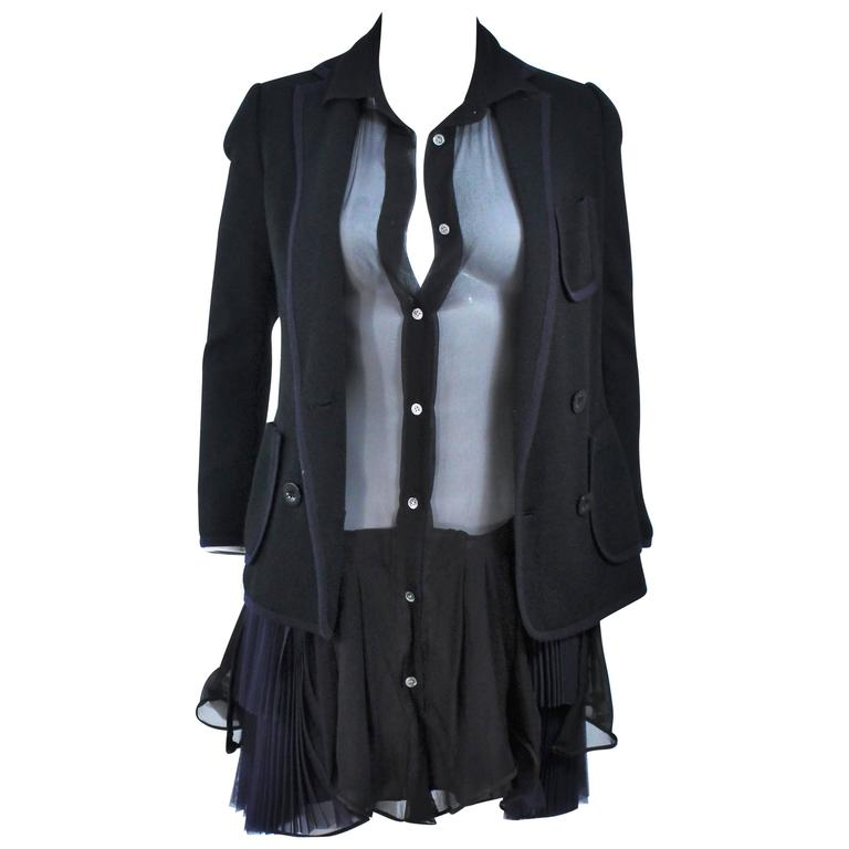 COMME DES GARCONS Wool Jacket and Dress Ensemble Size S