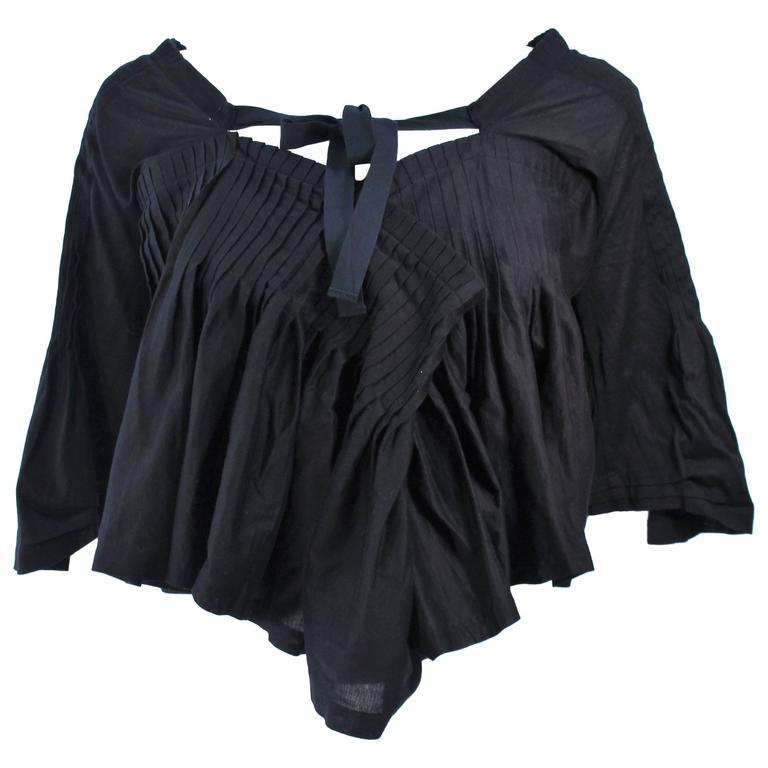 COMME DES GARÇONS Black Drape Pleated Blouse with Tie Size M