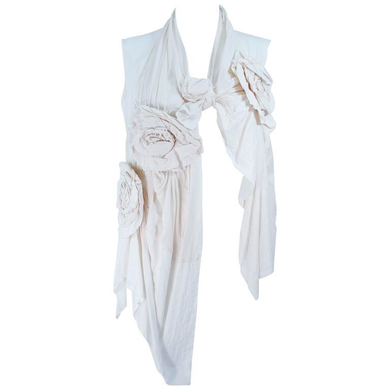 COMME DES GARÇONS Off White Cotton Drape Style Blouse with Floral Applique M