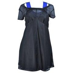 COMME DES GARCONS Draped Black Mesh Net Dress Ensemble Size S