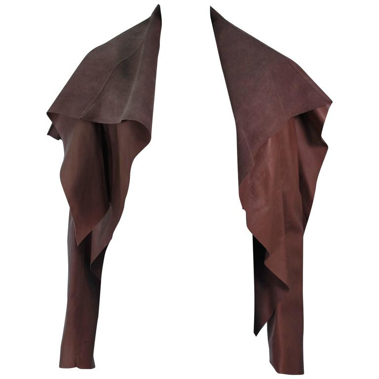 RICK OWENS Brown Lamb Leather Drape Jacket with Pleated Back Size 38