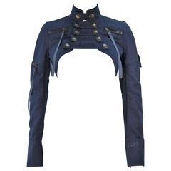 BALMAIN PARIS Blue Denim Snap Front Cropped Jacket with Brass Hardware Size 36