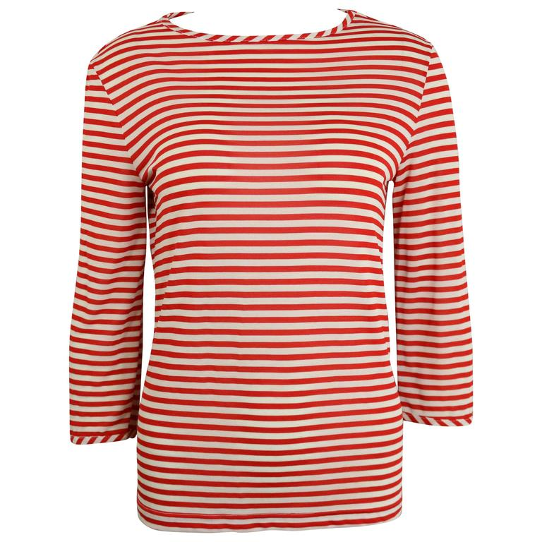 Versus By Gianni Versace Red/White Stripe Three Quarter Sleeve Top