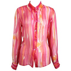 Tom Ford For Gucci Colour Printed Silk Sheer Shirt