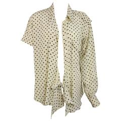 Moschino Couture Ivory Star Pattern Asymmetric Silk Shirt