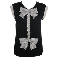Chanel Black Cashmere Silk Bow And Chain Top