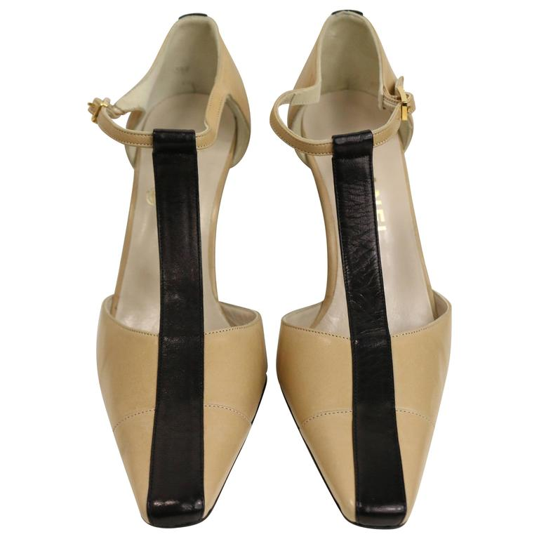 Chanel Bi Tones Slingback Heels For Sale