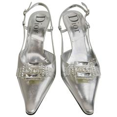 Christian Dior Silver Metallic Slingback Pointy Heels