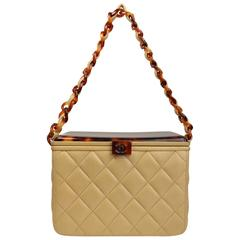 Chanel Beige Leather Quilted Tortoise Lucite Top Box Bag