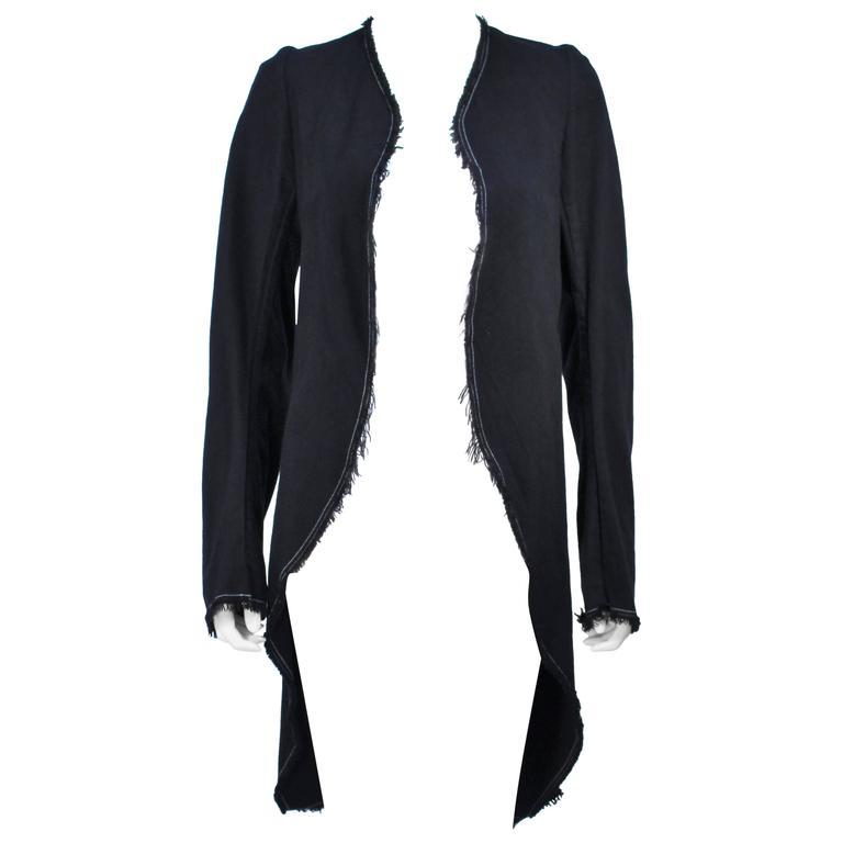 COMME DES GARCONS Indigo Denim Deconstructed Coat with Top Stitching Size M