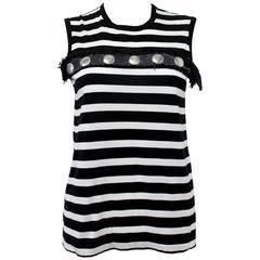 Comme Des Garçons Tricot 2004 'Punk Style' Studded Black and White Striped Vest