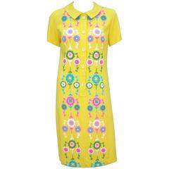 """1960's California Neon 'Flower Power"""" Embroidered Linen Shirt Dress"""