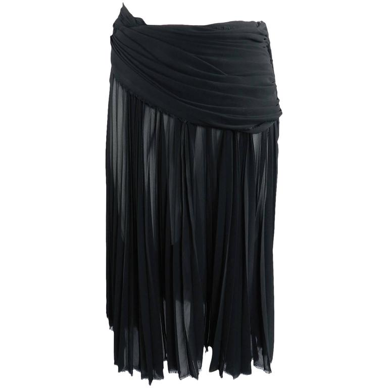 Comme des Garcons Sheer Black Pleated Skirt