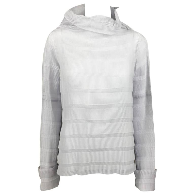Issey Miyake Pleated Pale Lavender Top - 2009 For Sale