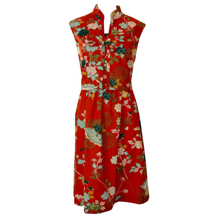 1960s Neiman Marcus Two Piece Printed Sundress  For Sale