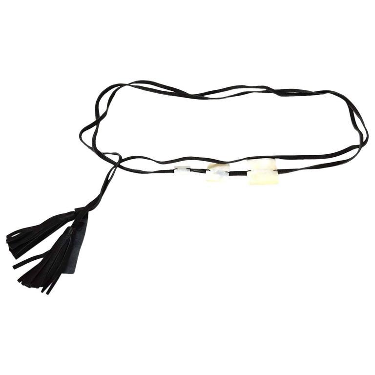 Max Mara Black Leather Tassel & MOP Wrap Belt sz L 1
