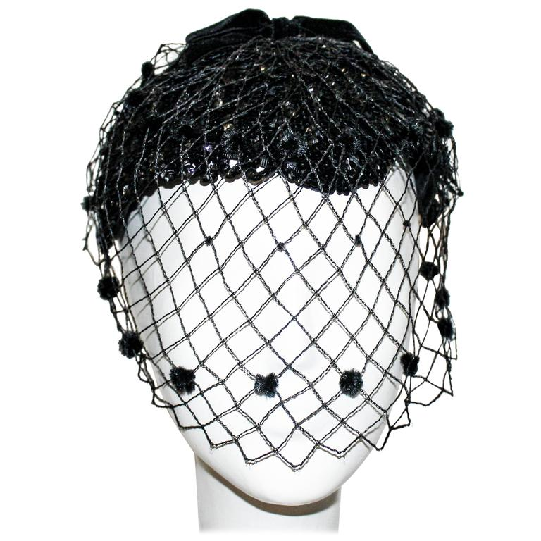 50s Black Sequined Cocktail Hat with Veil  1
