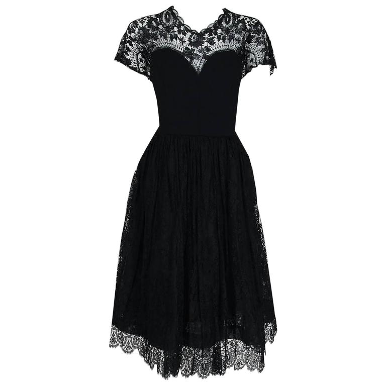1950's Pauline Trigere Black Illusion Lace & Wool Crepe Cocktail Party Dress  For Sale