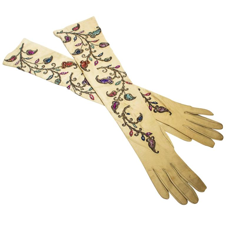 40s Opera Length Embroidered Kid Gloves with Sequins and Beads  1