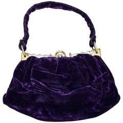 30s Purple Velvet Evening Purse with Lucite Frame