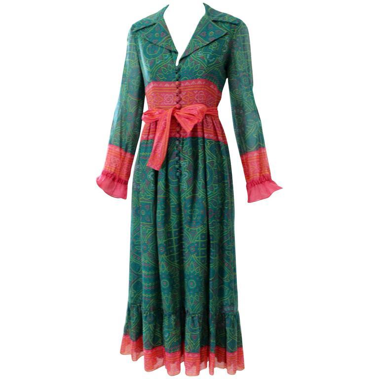 1970s Oscar de la Renta Printed Peasant Dress