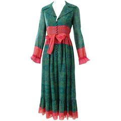 1970s Oscar de la Renta Printed Peasant Dress