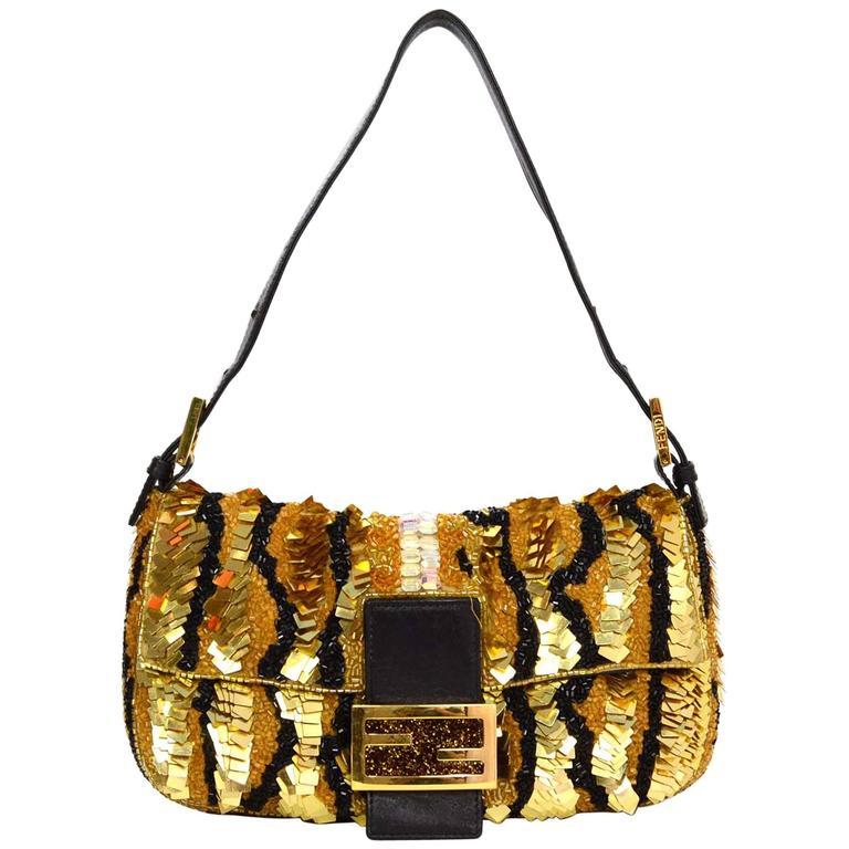 Fendi Gold & Black Sequin Baguette GHW