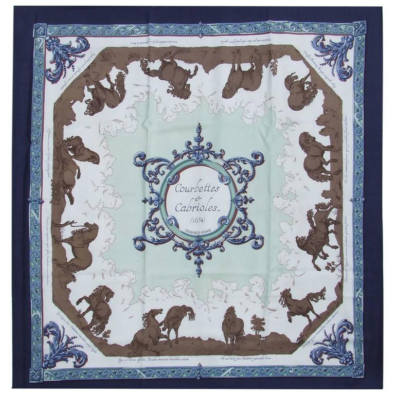 Hermes Silk Scarf Courbettes et Cabrioles 1654 Horses Blue Green 90 cm For  Sale d11be9aa87d