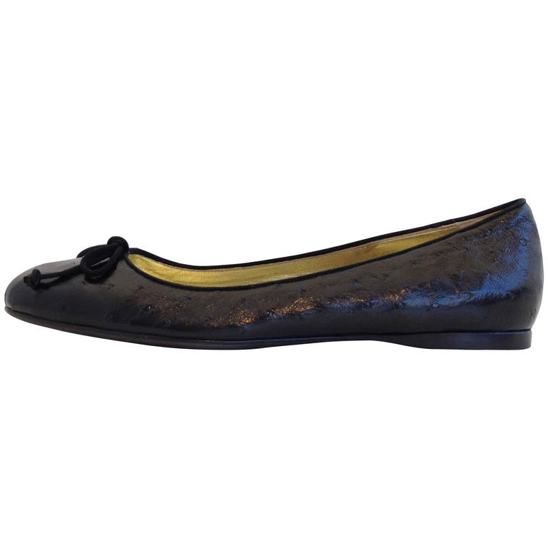 Tom Ford Black Ostrich Ballet Flats Size 37.5