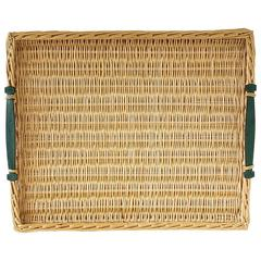 HERMES Rattan Tray Green Leather Handles rare