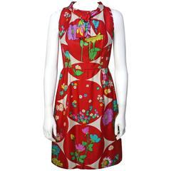 1960s British Moderns by Lito Manalang Silk Floral Dress