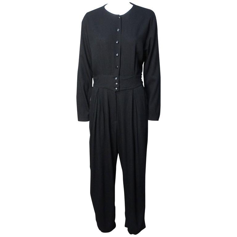 1980s Geoffrey Beene Drapey Black Jumpsuit